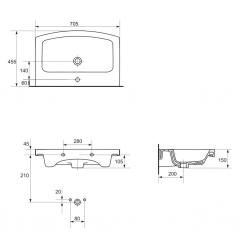 UMYVADLO EASY 70 1 OTW BOX (K102-015) - CERSANIT, fotografie 6/4