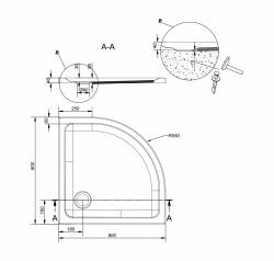 Sprchová vanička TAKO 80x4, čtvrtkruh CW (S204-001), fotografie 2/2