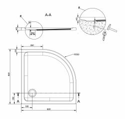 CERSANIT - Sprchová vanička TAKO 90x4, čtvrtkruh CW (S204-002), fotografie 2/2