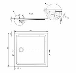 Sprchová vanička TAKO 90x4, čtverec CW (S204-010), fotografie 4/2