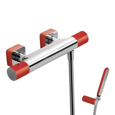 TRES - Termostatická sprchová baterieRuční sprcha snastavitelným držákem, proti usaz. vod. kamene a flexi hadice SATIN. (20016409RO)