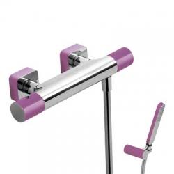 TRES - Termostatická sprchová baterieRuční sprcha snastavitelným držákem, proti usaz. vod. kamene a flexi hadice SATIN. (20016409VI)