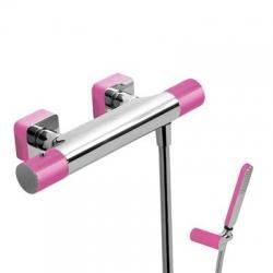 TRES - Termostatická sprchová baterieRuční sprcha snastavitelným držákem, proti usaz. vod. kamene a flexi hadice SATIN. (20016409FU)