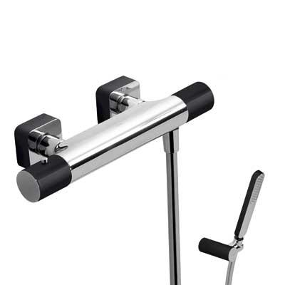 TRES - Termostatická sprchová baterieRuční sprcha snastavitelným držákem, proti usaz. vod. kamene a flexi hadice SATIN. (20016409NE)