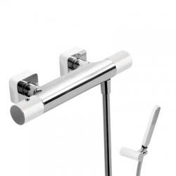 TRES - Termostatická sprchová baterieRuční sprcha snastavitelným držákem, proti usaz. vod. kamene a flexi hadice SATIN. (20016409BL)