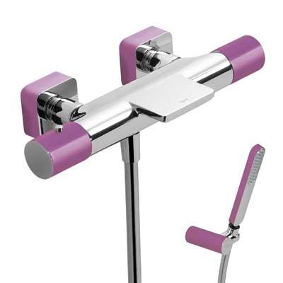 TRES - Termostatická baterie pro vanu-sprchus kaskádou. Ruční sprcha snastavitelným držákem, proti usaz. vod. kamene a flexi  (20017409VI)