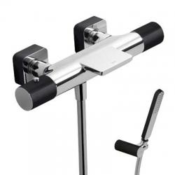 TRES - Termostatická baterie pro vanu-sprchus kaskádou. Ruční sprcha snastavitelným držákem, proti usaz. vod. kamene a flexi  (20017409NE)