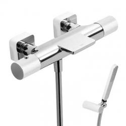 TRES - Termostatická baterie pro vanu-sprchus kaskádou. Ruční sprcha snastavitelným držákem, proti usaz. vod. kamene a flexi  (20017409BL)