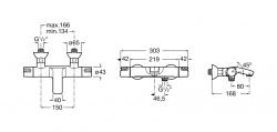 AKCE/ROCA - Nástěnná termostatická vanová baterie VICTORIA s přepínacím ventilem a regulátorem průtoku, bez příslušensví (A5A1118C00), fotografie 2/3