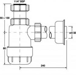 CERSANIT - Umyvadlový sifon lahvový nízký HC2 (K97-125), fotografie 2/1