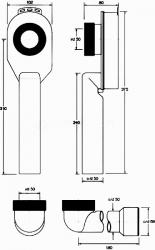 CERSANIT - Pisoárový sifon - podomítkový HC-US50 (K97-116), fotografie 2/1