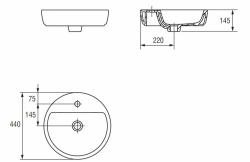 CERSANIT - Umyvadlo CASPIA RING 44 na desku s přepadem (K11-0094), fotografie 20/10