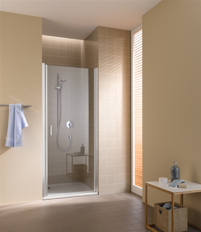 Kermi Kyvné dveře Cada XS 1WR 09020 860-910/2000 bílá ESG čiré Clean 1-křídlé kyvné dveře s panty vpravo (CC1WR090202PK)