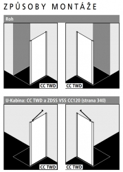 Kermi Boční stěna Cada XS TWD 12020 1160-1210/2000 bílá ESG čiré Clean Boční stěna  (CCTWD120202PK), fotografie 2/5