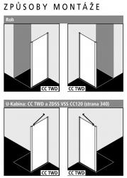 Kermi Boční stěna Cada XS TWD 03520 310-360/2000 stříbrná vys.lesk ESG čiré Clean boční stěna  (CCTWD03520VPK), fotografie 2/5