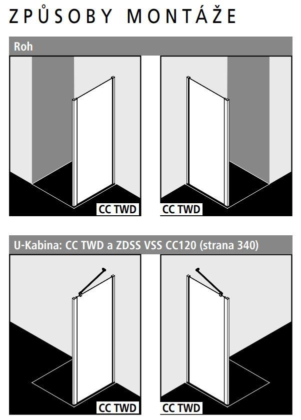 Kermi Boční stěna Cada XS TWD 07020 660-710/2000 stříbrná vys.lesk ESG čiré Clean boční stěna  (CCTWD07020VPK)