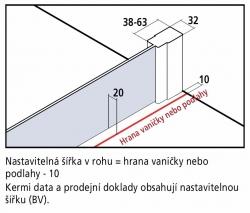 Kermi Boční stěna Cada XS TWD 08020 760-810/2000 stříbrná vys.lesk ESG čiré Clean boční stěna  (CCTWD08020VPK), fotografie 6/5