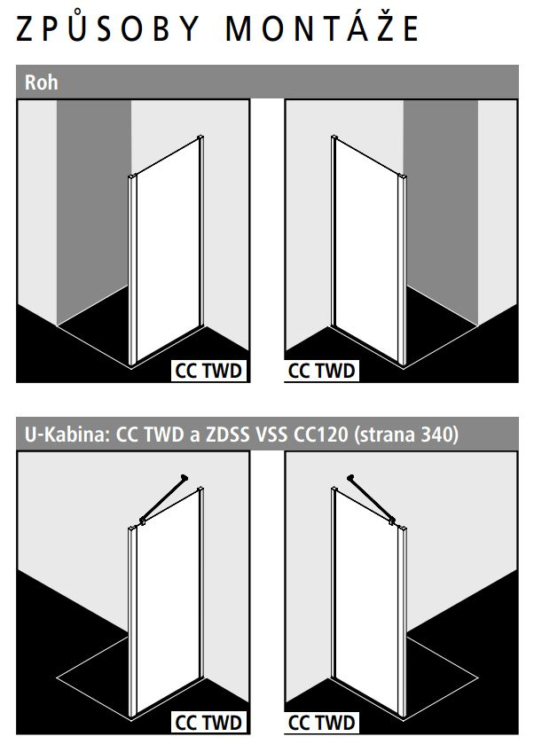 Kermi Boční stěna Cada XS TWD 08520 810-860/2000 stříbrná vys.lesk Serig.CC Clean boční stěna  (CCTWD08520VVK)