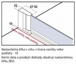 Kermi Kyvné dveře Cada XS 1WR 09520 910-960/2000 stříbrná vys.lesk ESG čiré Clean 1-křídlé kyvné dveře s panty vpravo  (CC1WR09520VPK), fotografie 12/9