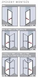Kermi Kyvné dveře Cada XS 1WR 09520 910-960/2000 stříbrná vys.lesk ESG čiré Clean 1-křídlé kyvné dveře s panty vpravo  (CC1WR09520VPK), fotografie 18/9