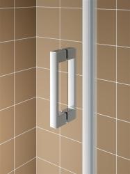 Kermi Kyvné dveře Cada XS 1WR 10020 960-1010/2000 stříbrná vys.lesk ESG čiré Clean 1-křídlé kyvné dveře s panty vpravo  (CC1WR10020VPK), fotografie 4/9