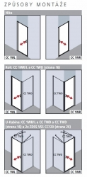 Kermi Kyvné dveře Cada XS 1WR 08020 760-810/2000 stříbrná vys.lesk Serig.CC Clean 1-křídlé kyvné dveře s panty vpravo  (CC1WR08020VVK), fotografie 20/10