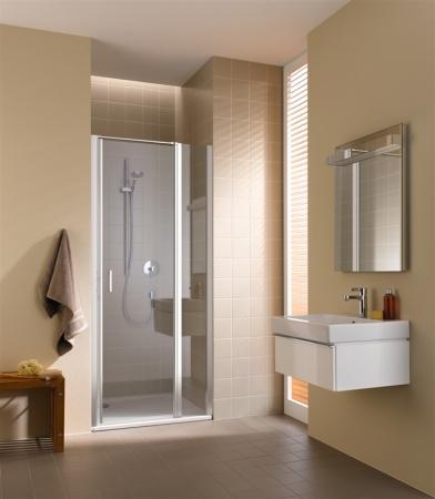 Kermi Kyvné dveře Cada XS 1GR 08020 760-810/2000 bílá ESG čiré Clean 1-křídlé kyvné dveře s pev. polem panty vpravo (CC1GR080202PK)