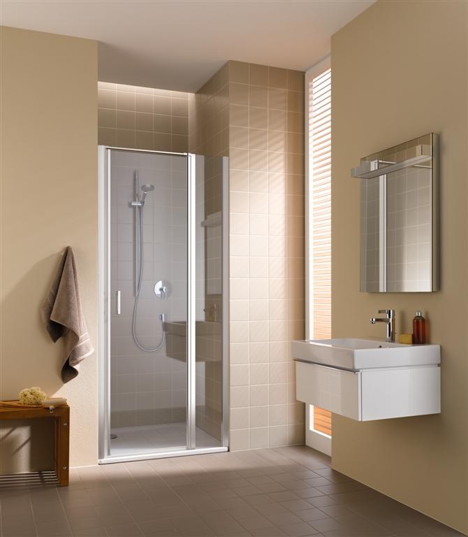Kermi Kyvné dveře Cada XS 1GR 09020 860-910/2000 bílá ESG čiré Clean 1-křídlé kyvné dveře s pev. polem panty vpravo CC1GR090202PK