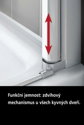 Kermi Kyvné dveře Cada XS 1GR 10020 960-1010/2000 bílá ESG čiré Clean 1-křídlé kyvné dveře s pev. polem panty vpravo (CC1GR100202PK), fotografie 6/9