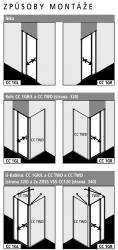 Kermi Kyvné dveře Cada XS 1GR 09020 860-910/2000 stříbrná vys.lesk Serig.CC Clean 1-křídlé kyvné dveře s pev. polem panty vpravo (CC1GR09020VVK), fotografie 10/10