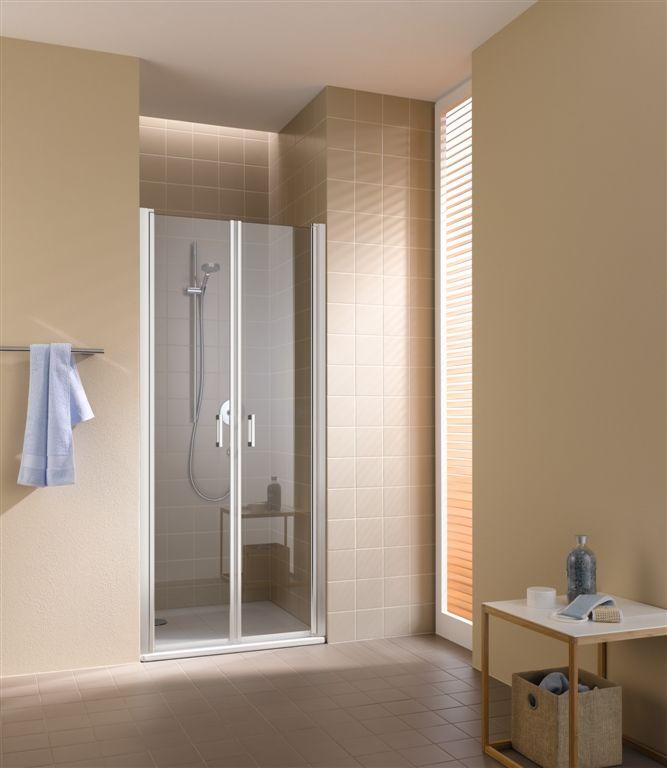 Kermi Kyvné dveře Cada XS PTD 09520 910-960/2000 bílá ESG čiré Clean Kyvné dveře CCPTD095202PK