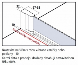 Kermi Kyvné dveře Cada XS PTD 07520 710-760/2000 stříbrná vys.lesk ESG čiré Clean Kyvné dveře  (CCPTD07520VPK), fotografie 20/10