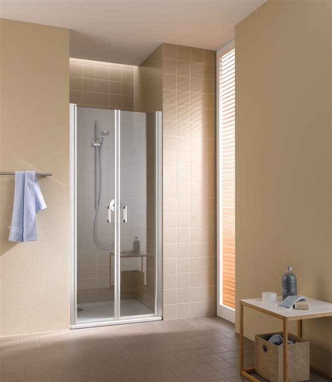 Kermi Kyvné dveře Cada XS PTD 09520 910-960/2000 stříbrná vys.lesk ESG čiré Clean Kyvné dveře (CCPTD09520VPK)