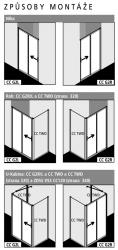 Kermi Posuvné dveře Cada XS G2R 11620 1130-1170/2000 stříbrná vys.lesk ESG čiré Clean 2-dílné posuvné dveře s pevným polem pevné pole vpravo (CCG2R11620VPK), fotografie 6/6