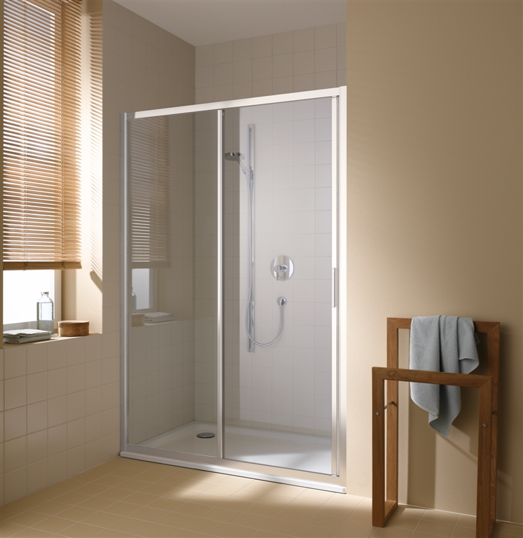 Kermi Posuvné dveře Cada XS G2R 12020 1170-1210/2000 stříbrná vys.lesk ESG čiré Clean 2-dílné posuvné dveře s pevným polem pevné pole vpravo (CCG2R12020VPK)
