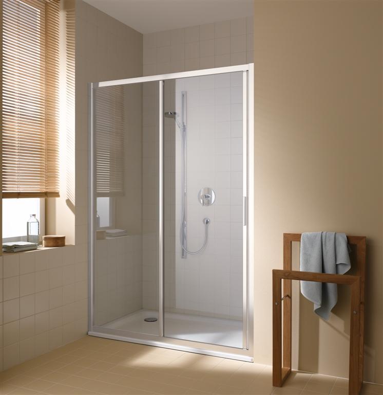 Kermi Posuvné dveře Cada XS G2R 13020 1270-1310/2000 stříbrná vys.lesk ESG čiré Clean 2-dílné posuvné dveře s pevným polem pevné pole vpravo (CCG2R13020VPK)