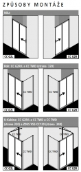 Kermi Posuvné dveře Cada XS G2R 12020 1170-1210/2000 stříbrná vys.lesk Serig.CC Clean 2-dílné posuvné dveře s pevným polem pevné pole vpravo (CCG2R12020VVK), fotografie 6/7