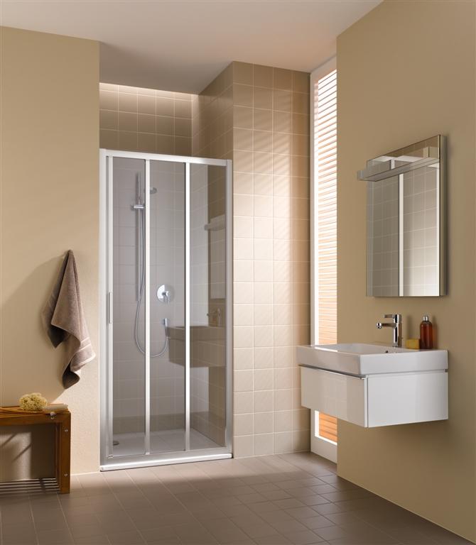 Kermi Posuvné dveře Cada XS G3R 09020 870-910/2000 bílá ESG čiré Clean 3-dílné posuvné dveře s pevným polem pevné pole vpravo (CCG3R090202PK)