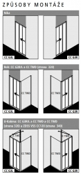 KERMI - Cada XS  3-dílné posuvné dveře s pevným polem vlevo šířka 900 mm výška 2000 mm (CCG3L090202PK), fotografie 2/6