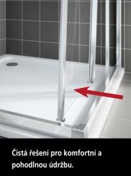 Kermi Posuvné dveře Cada XS G3R 07020 670-710/2000 stříbrná vys.lesk ESG čiré Clean 3-dílné posuvné dveře s pevným polem pevné pole vpravo (CCG3R07020VPK), fotografie 6/6