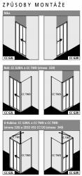 Kermi Posuvné dveře Cada XS G3R 08020 770-810/2000 stříbrná vys.lesk ESG čiré Clean 3-dílné posuvné dveře s pevným polem pevné pole vpravo (CCG3R08020VPK), fotografie 2/6