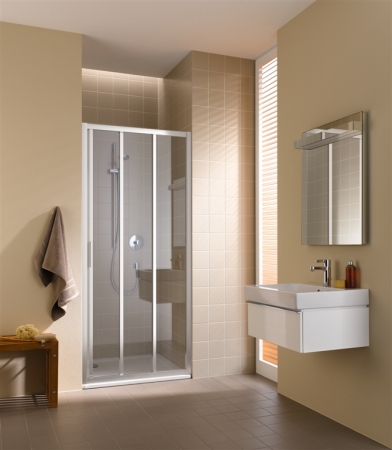Kermi Posuvné dveře Cada XS G3R 09020 870-910/2000 stříbrná vys.lesk Serig.CC Clean 3-dílné posuvné dveře s pevným polem pevné pole vpravo (CCG3R09020VVK)