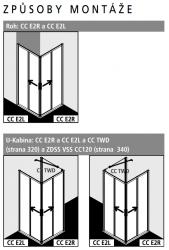 Kermi Rohový vstup Cada XS E2L 12020 1175-1200/2000 bílá ESG čiré Clean Rohový vstup 2-dílný (posuvné dveře) levý poloviční díl (CCE2L120202PK), fotografie 4/7