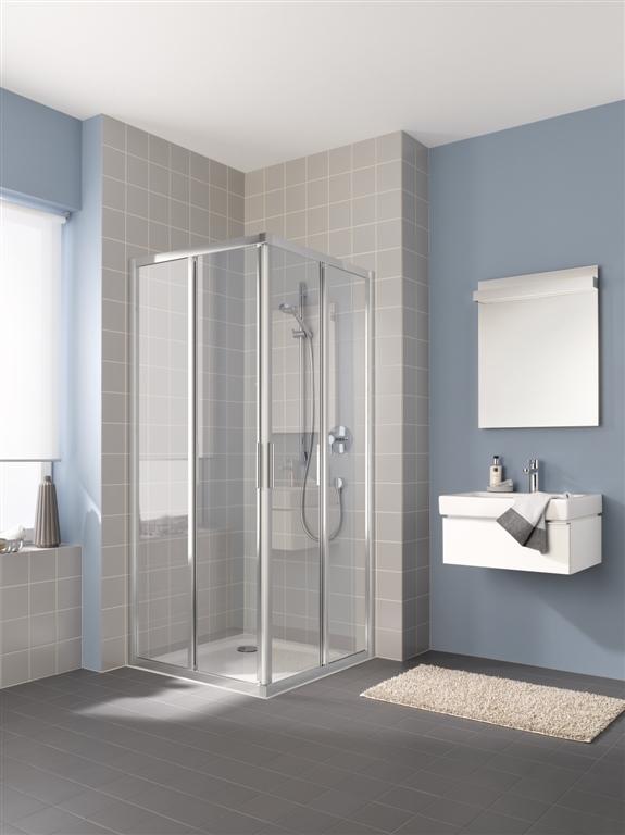 Kermi Rohový vstup Cada XS E2L 09020 875-900/2000 stříbrná vys.lesk ESG čiré Clean Rohový vstup 2-dílný (posuvné dveře) levý poloviční díl (CCE2L09020VPK)