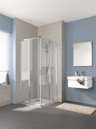 Kermi Rohový vstup Cada XS E2R 08020 775-800/2000 stříbrná vys.lesk Serig.CC Clean Rohový vstup 2-dílný (posuvné dveře) pravý poloviční díl (CCE2R08020VVK)