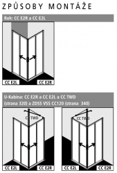 Kermi Rohový vstup Cada XS E2R 12020 1175-1200/2000 stříbrná vys.lesk Serig.CC Clean Rohový vstup 2-dílný (posuvné dveře) pravý poloviční díl (CCE2R12020VVK), fotografie 4/8