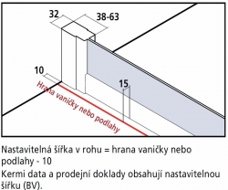 Kermi Rohový vstup Cada XS E3L 07520 725-750/2000 bílá ESG čiré Clean Rohový vstup 3-dílný (posuvné dveře) levý poloviční díl (CCE3L075202PK), fotografie 16/8