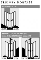 Kermi Rohový vstup Cada XS E3R 09020 875-900/2000 stříbrná vys.lesk ESG čiré Clean Rohový vstup 3-dílný (posuvné dveře) pravý poloviční díl (CCE3R09020VPK), fotografie 4/8
