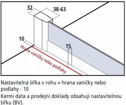 Kermi Rohový vstup Cada XS E3L 10020 975-1000/2000 stříbrná vys.lesk ESG čiré Clean Rohový vstup 3-dílný (posuvné dveře) levý poloviční díl (CCE3L10020VPK), fotografie 16/8