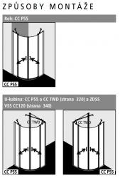 Kermi Čtvrtkruh Cada XS P55 08020 775-800/2000 bílá ESG čiré Clean Čtvrtkruh (kyvné dveře s pevnými poli) (CCP55080202PK), fotografie 2/8